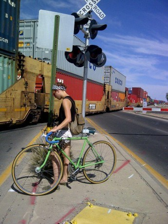 Traveling by bicycle.