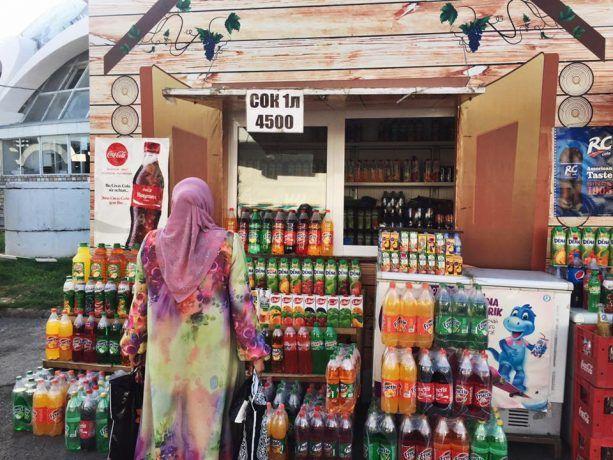 A woman shops in Uzbekistan