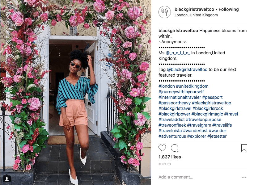 best hashtags to reach black women who travel