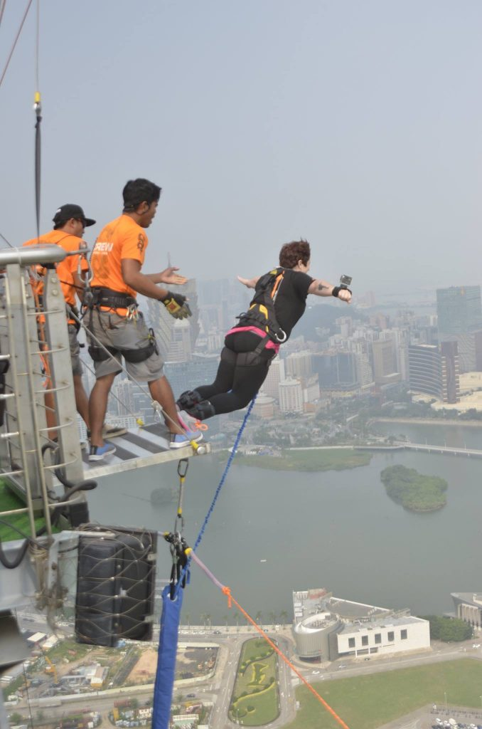 Bungee jumping from the Macao Tower is one of my all-time favorite adventures.